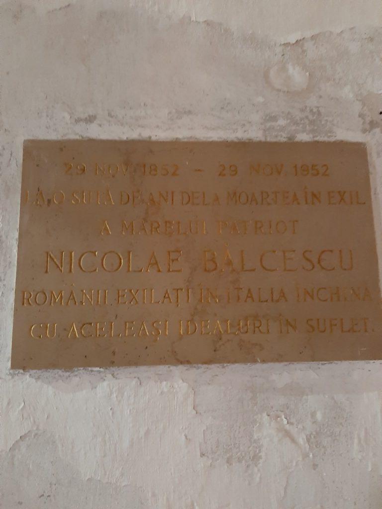 Plăcuță memorială Nicolae Bălcescu